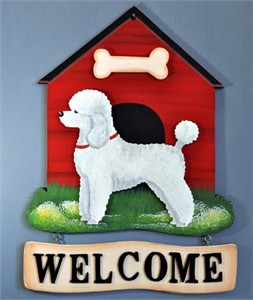 Poodle Welcome Sign Miniature White