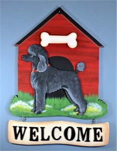 Poodle Welcome Sign Std. Blk.