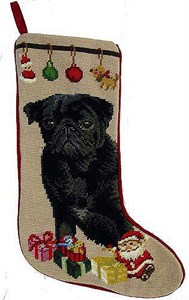 Pug Christmas Stocking Black