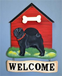 Pug Welcome Sign Black