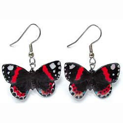 Red Admiral Butterfly Earrings