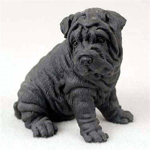 Shar Pei Figurine Black