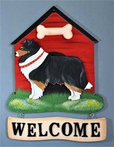 Shetland Sheepdog Welcome Sign Tri