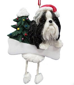 Shih Tzu Ornament (Black and White)