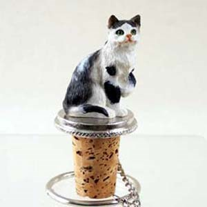 Tabby Cat Bottle Stopper (Black & White)
