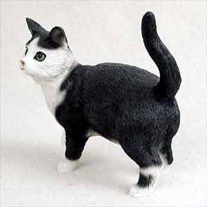 Tabby Cat Figurine Black & White