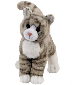 Tabby Cat Plush Stuffed Animal Grey 12 Inch