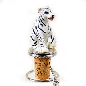 Tiger Bottle Stopper (White)