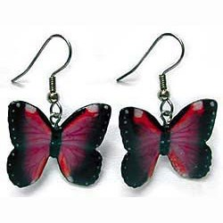 Violet Morpho Butterfly Earrings