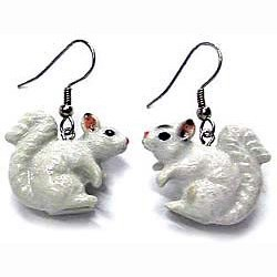 White Squirrel Earrings