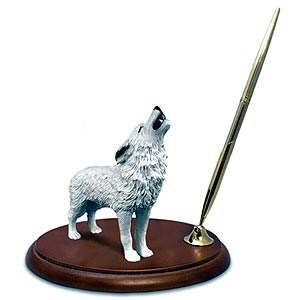 Wolf Pen Holder (White)
