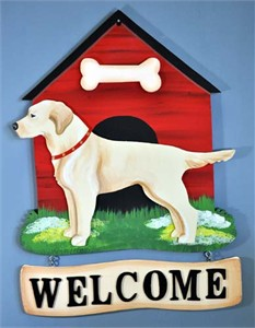 Yellow Lab Welcome Sign
